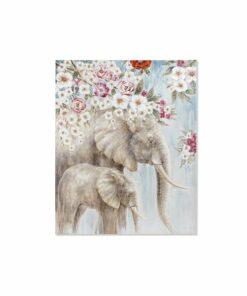 Pintura Dekodonia Elefante Bloemen (120 x 3 x 150 cm)