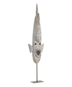 Figura Decorativa Dekodonia Metal Madeira de paulónia Peixe (15 x 7 x 64 cm)