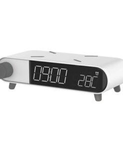 Relógio Despertador com Carregador sem Fios KSIX Retro Branco 10 W